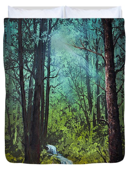 Deep Woods Stream Duvet Cover by C Steele