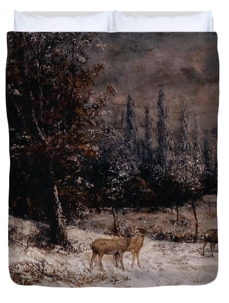 Deer In The Snow Duvet Cover by Gustave  Courbet