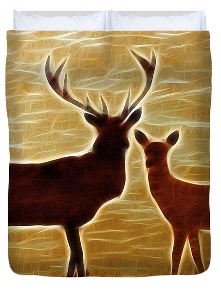 Deers Lookout Duvet Cover by Georgeta Blanaru