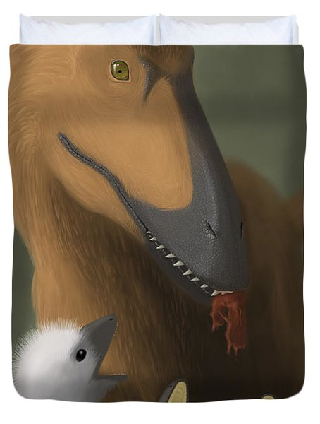 Deinonychus Dinosaur Feeding Its Young Duvet Cover by Michele Dessi