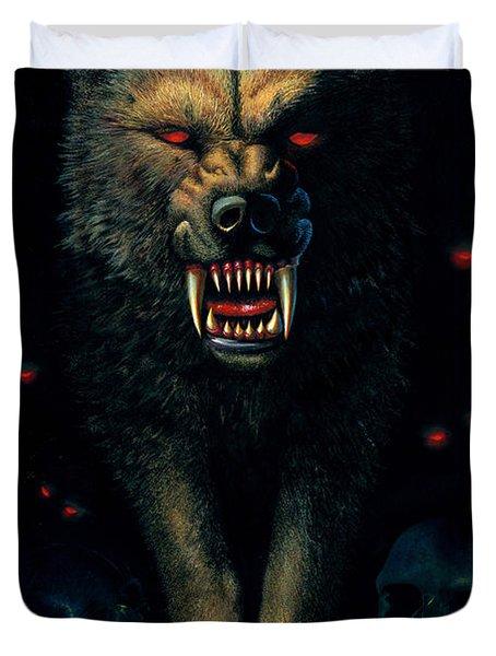 Demon Wolf Duvet Cover by MGL Studio - Chris Hiett