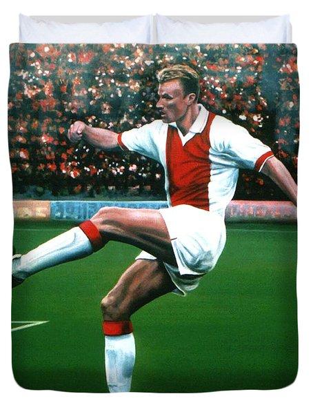 Dennis Bergkamp Ajax Duvet Cover by Paul  Meijering
