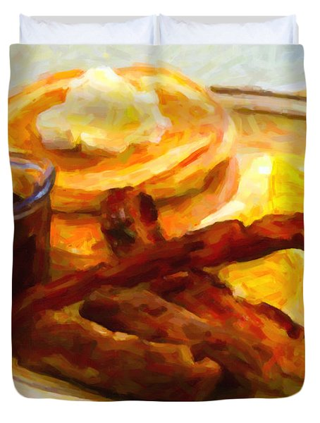 Denny's Grand Slam Breakfast - Painterly Duvet Cover by Wingsdomain Art and Photography