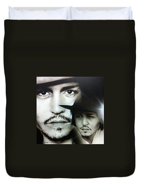 Johnny Depp - ' Depp ' Duvet Cover by Christian Chapman Art