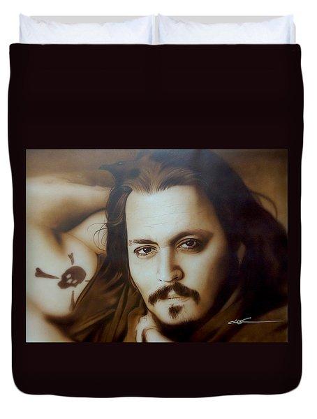 Johnny Depp - ' Depp II ' Duvet Cover by Christian Chapman Art