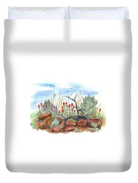 Desert Wildflowers Duvet Cover by Cathie Richardson