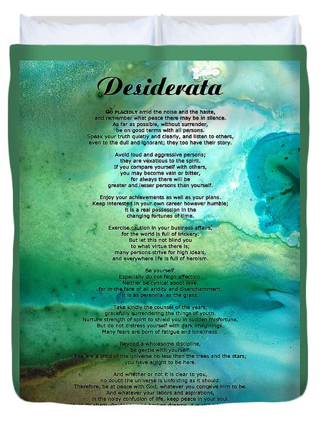 Desiderata 2 - Words Of Wisdom Duvet Cover by Sharon Cummings