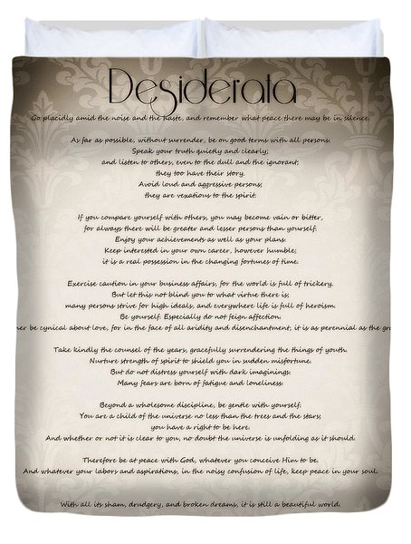 Desiderata - Vintage Sepia Duvet Cover by Marianna Mills