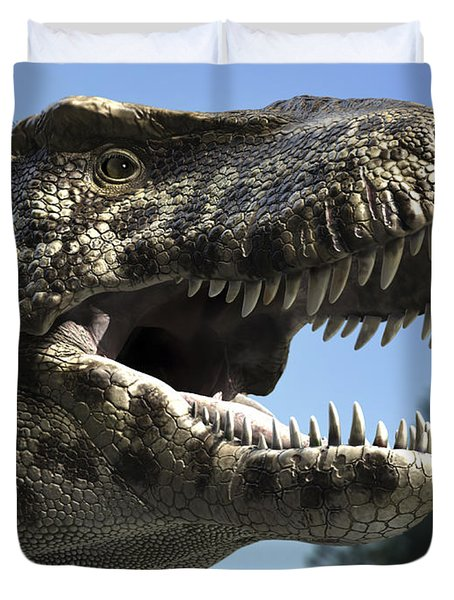 Detailed Headshot Of Tyrannosaurus Rex Duvet Cover by Rodolfo Nogueira