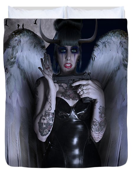 Devil Woman Duvet Cover by Nathan Wright