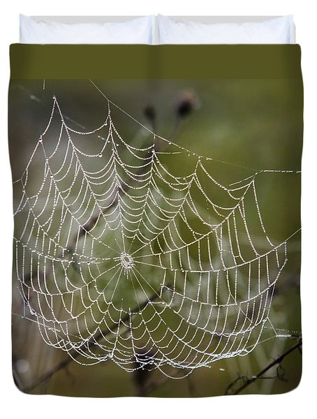 Dew Drops Spider Web Duvet Cover by Christina Rollo