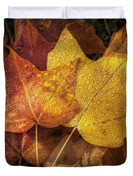 Dew on Autumn Leaves Duvet Cover by Scott Norris
