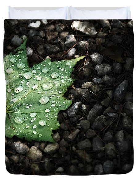 Dew On Leaf Duvet Cover by Scott Norris