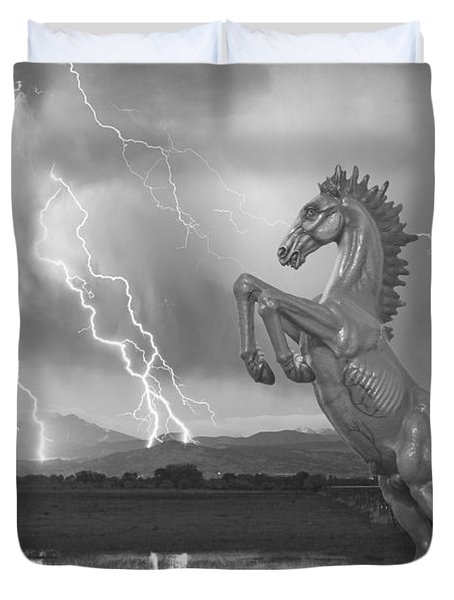 Dia Mustang Bronco Lightning Storm Bw Duvet Cover by James BO  Insogna