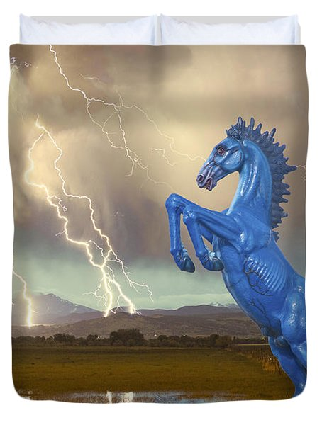 Dia Mustang Bronco Lightning Storm Duvet Cover by James BO  Insogna