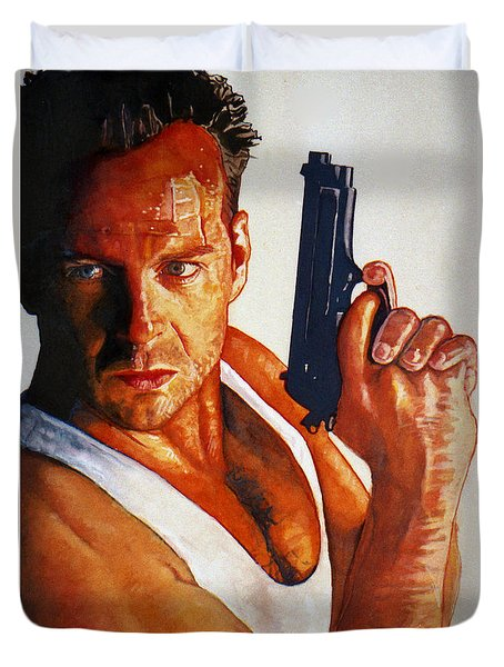 Die Hard Duvet Cover by Michael Haslam