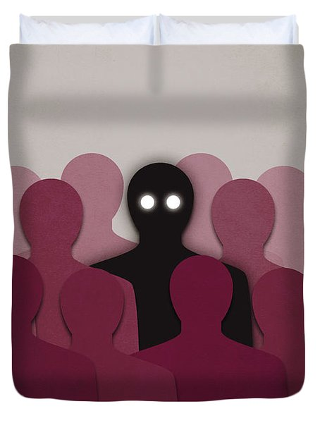 Different And Alone In Crowd Duvet Cover by Boriana Giormova