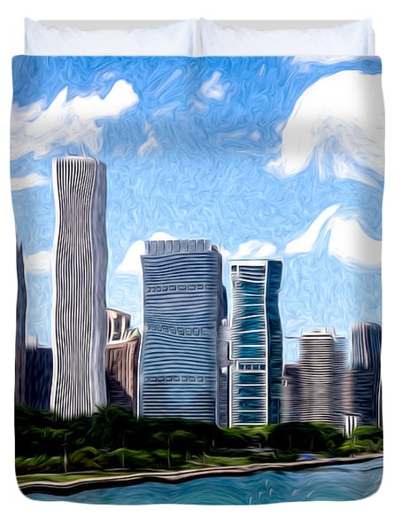Digitial Painting Of Downtown Chicago Skyline Duvet Cover by Paul Velgos