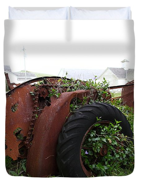 Dilapidated Farm Tractor At The Old Pierce Point Ranch In Foggy Point Reyes California 5D28120 Duvet Cover by Wingsdomain Art and Photography