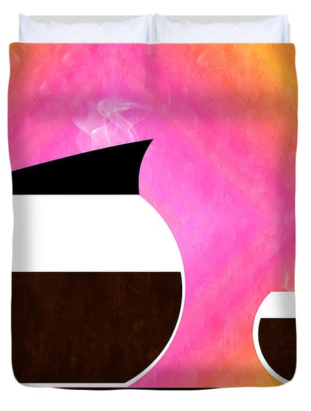 Diner Coffee Pot And Cup Sorbet Duvet Cover by Andee Design