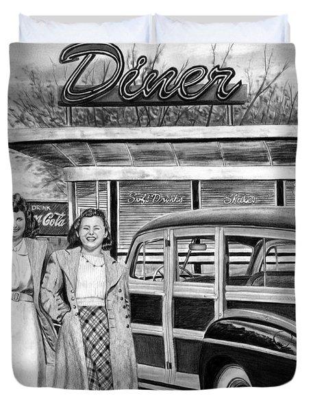 Dinner With The Girls Duvet Cover by Peter Piatt
