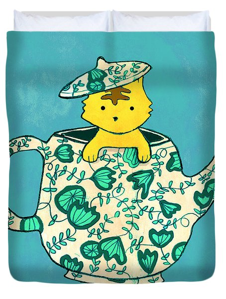 Dinnerware Sets Kitten In A Teapot Duvet Cover by Budi Kwan