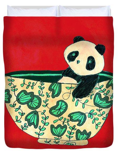 Dinnerware Sets Panda In A Bowl Duvet Cover by Budi Satria Kwan