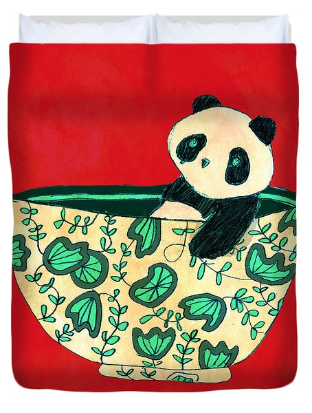 Dinnerware sets Panda in a bowl Duvet Cover by Budi Kwan