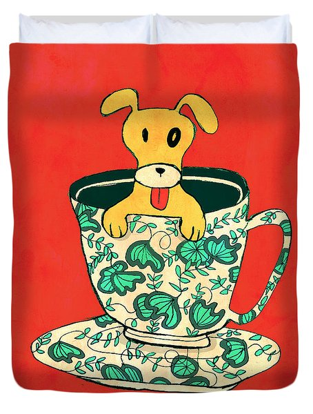Dinnerware sets puppy in a teacup Duvet Cover by Budi Kwan