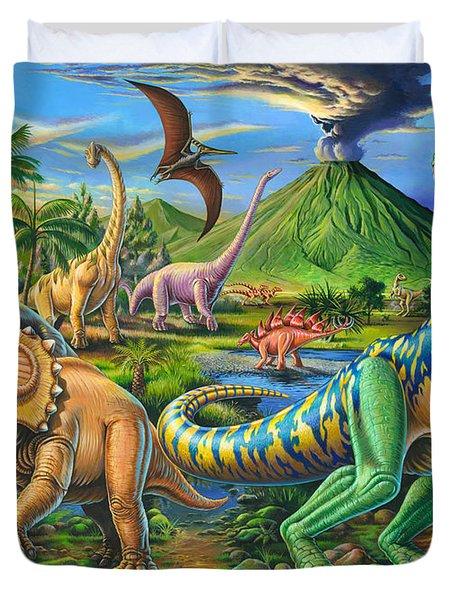 Dinosaur Scene Duvet Cover by Mark Gregory