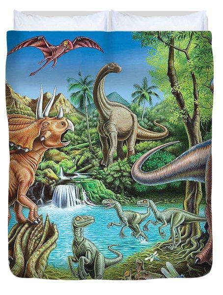 Dinosaur Waterfall Duvet Cover by Mark Gregory