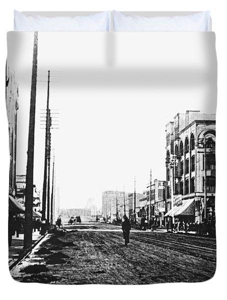 Downtown Dirt Spokane C. 1895 Duvet Cover by Daniel Hagerman