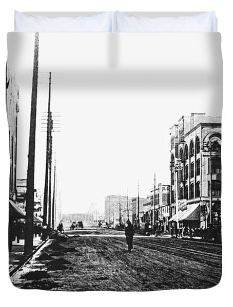 DOWNTOWN DIRT SPOKANE c. 1895 Duvet Cover by Daniel Hagerman