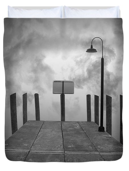 Dock And Clouds Duvet Cover by David Gordon
