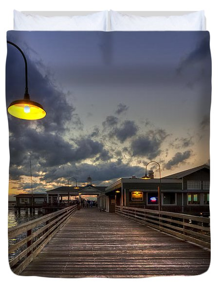 Dock lights at Jekyll Island Duvet Cover by Debra and Dave Vanderlaan