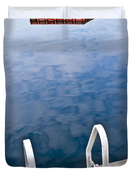 Dock On Calm Lake In Cottage Country Duvet Cover by Elena Elisseeva