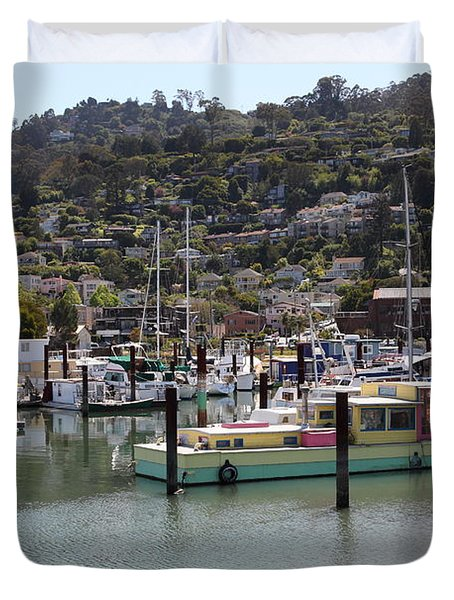 Docks at Sausalito California 5D22697 Duvet Cover by Wingsdomain Art and Photography