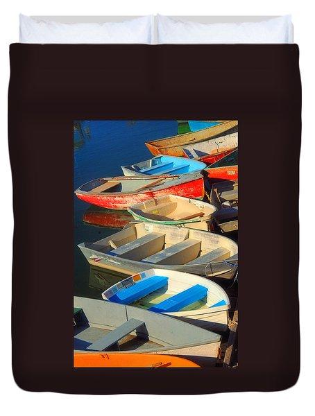 Dockside Parking Duvet Cover by Joann Vitali