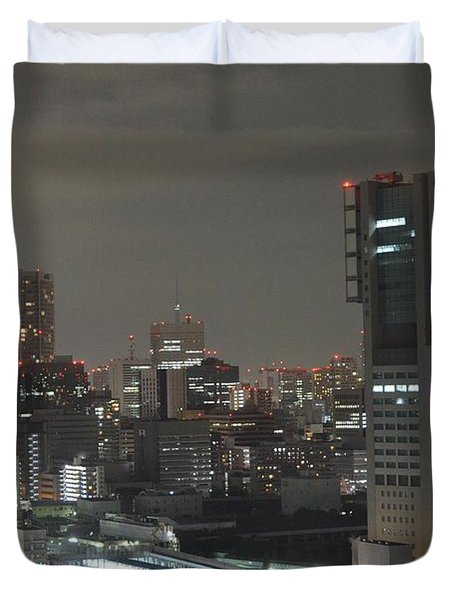 Docomo Tower Over Shinagawa Station And Tokyo Skyline At Night Duvet Cover by Jeff at JSJ Photography