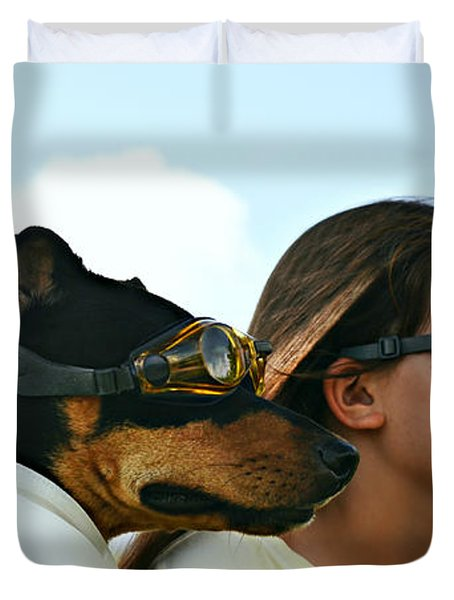Dog Is My Co-pilot Duvet Cover by Laura  Fasulo