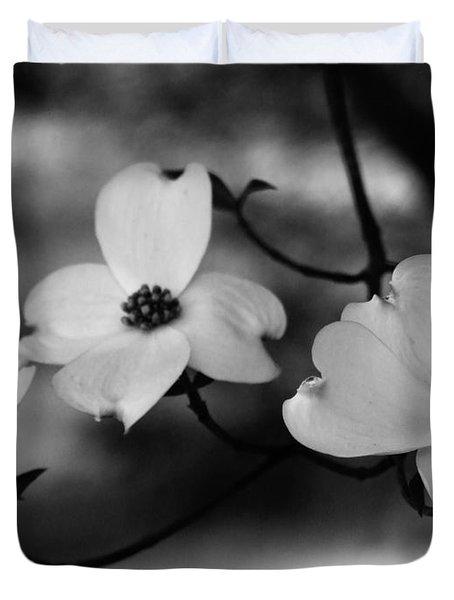 Dogwood Black And White Duvet Cover by Andrea Anderegg