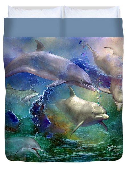 Dolphin Dream Duvet Cover by Carol Cavalaris