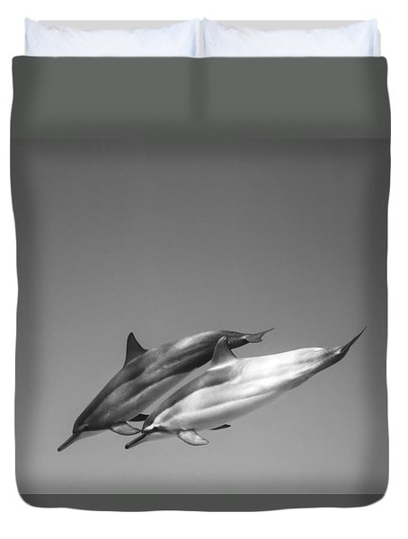 Dolphin Pair Duvet Cover by Sean Davey