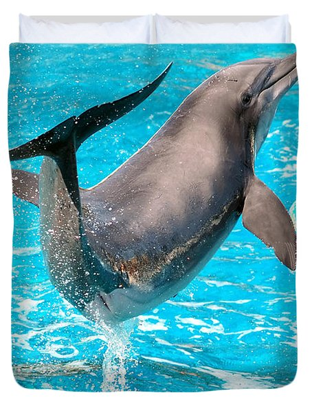 Dolphin Plays Duvet Cover by Michal Bednarek