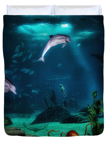 Dolphin Tails 2 Duvet Cover by Todd and candice Dailey