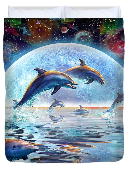 Dolphins by Moonlight Duvet Cover by Adrian Chesterman