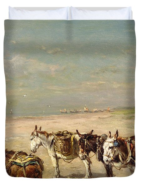 Donkeys On The Beach Duvet Cover by Johannes Hubertus Leonardus de Haas