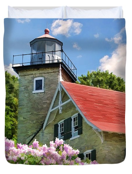Door County Eagle Bluff Lighthouse Lilacs Duvet Cover by Christopher Arndt