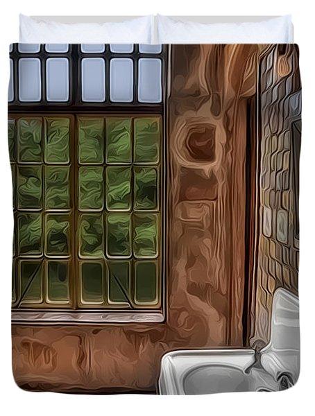 Dormer And Bathroom Duvet Cover by Susan Candelario