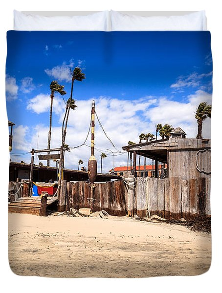 Dory Fishing Fleet Market in Newport Beach California Duvet Cover by Paul Velgos